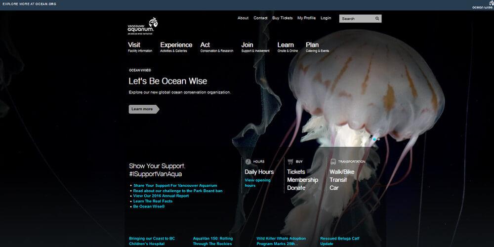 バンクーバー水族館トップページ