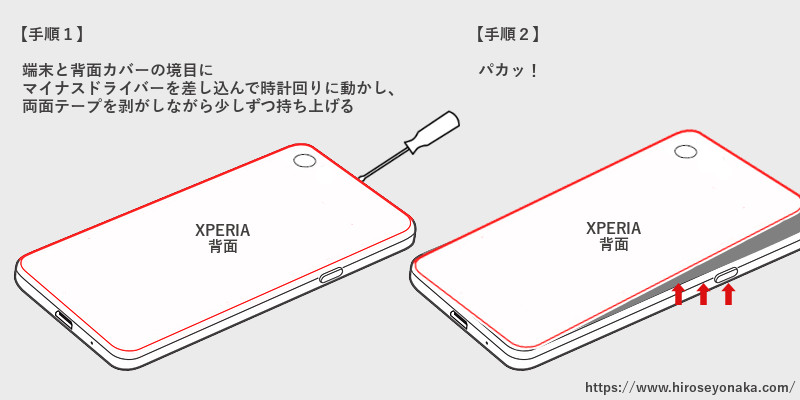 Xperiaバッテリー交換解説図