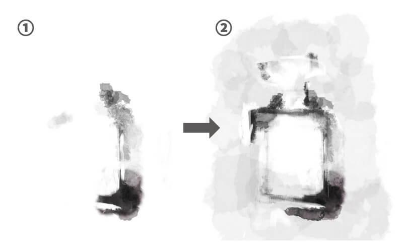 水彩ブラシの香水制作過程1