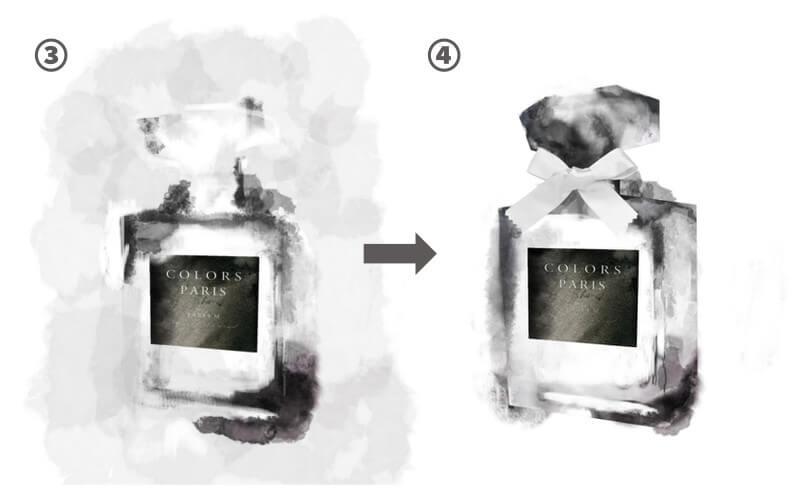 水彩ブラシの香水制作過程2