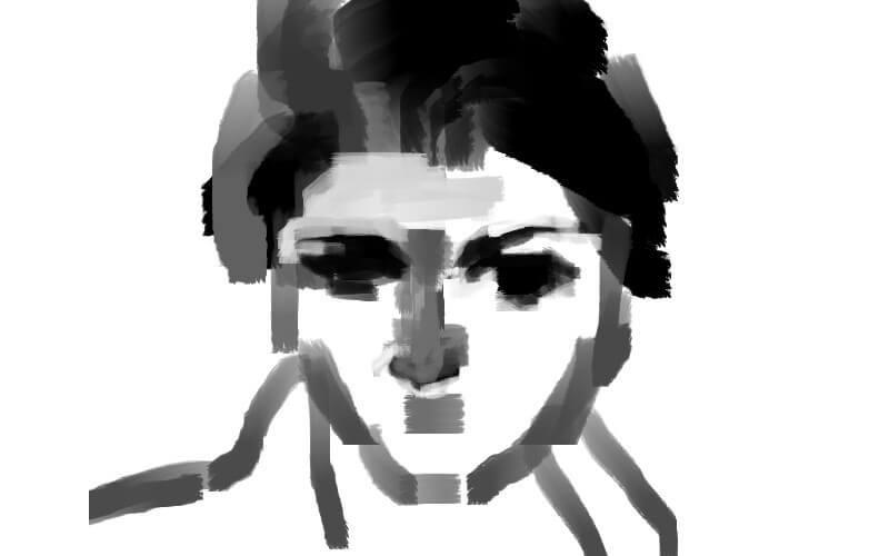 マウス絵厚塗り女性メイキング2
