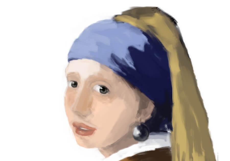 青いターバンの少女模写10