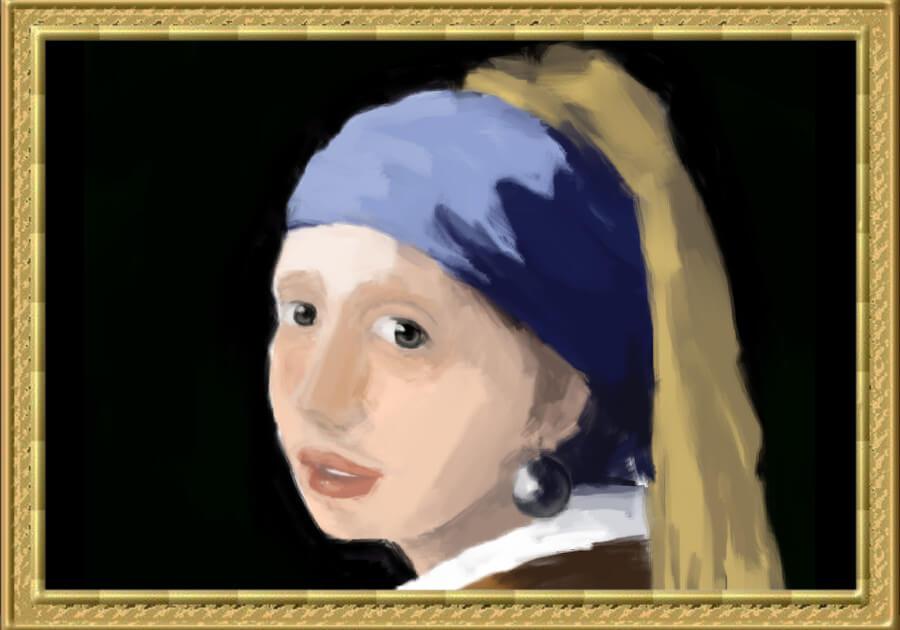 青いターバンの少女模写11