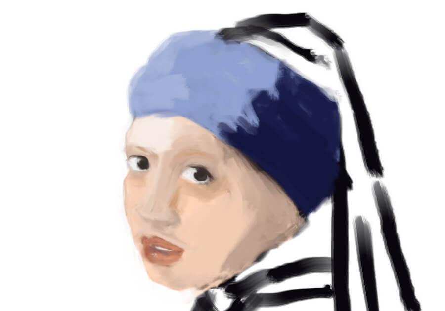 青いターバンの少女模写4