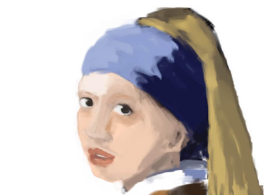 青いターバンの少女模写6