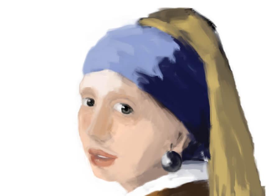 青いターバンの少女模写9