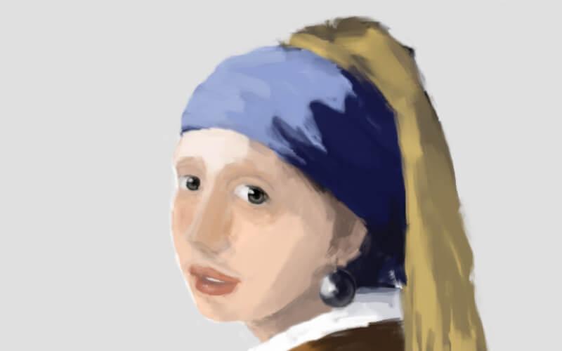 GIMPとマウスだけで青いターバンの少女を模写アイキャッチ